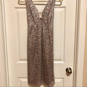 😍 Gorgeous gray lace, satin bow cocktail dress